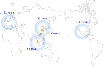 現在の各地域の拠点。各国で電子部品のデリバリーが行われています。